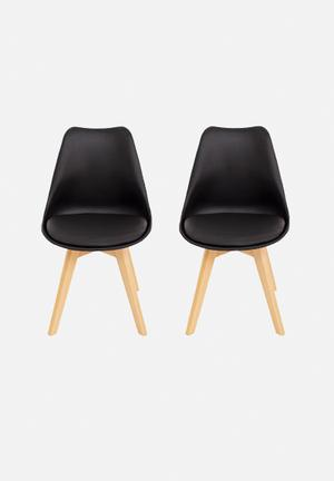 Eleven Past Set Of 2 Eames Inspired Chairs Black