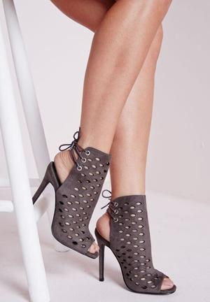Missguided Lasercut Tie Back Heeled Sandal Grey