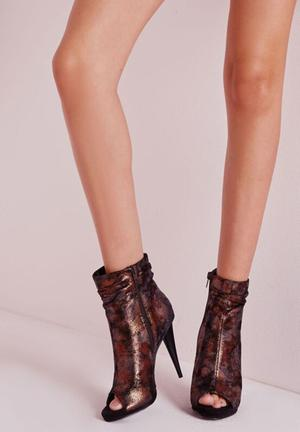 Missguided Ruched Peep Toe Boots Bronze
