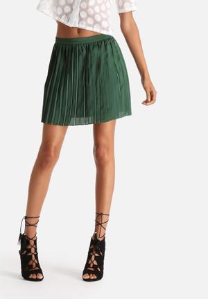 Goldie Platform Satin Pleated Skirt Green