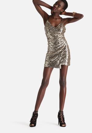 WYLDR Moving On Sequin Wrap Dress Occasion Gold