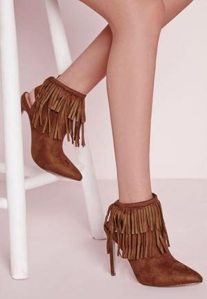 Missguided Fringe Detail Heeled Ankle Boots Tan