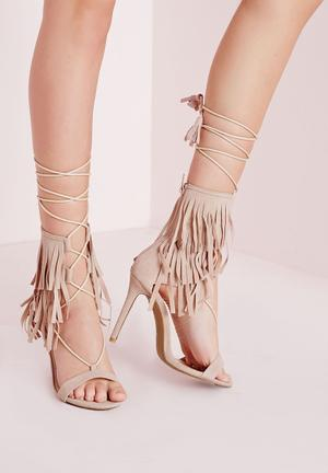 Missguided Fringe Strap Barely There Heeled Sandals Nude