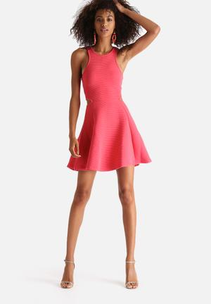 New Look Chunky Rib Cut Out Skater Dress Occasion Pink