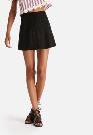 Glamorous Button A Line Skirt Black