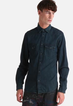 Selected Homme Movie Slim Shirt  Blue Denim