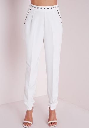 Missguided Stud Detail Cigarette Trousers White