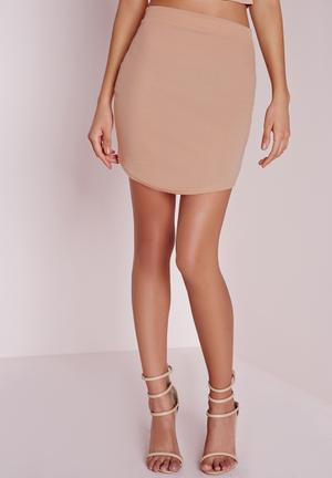Missguided Ponte Curve Hem Mini Skirt Nude