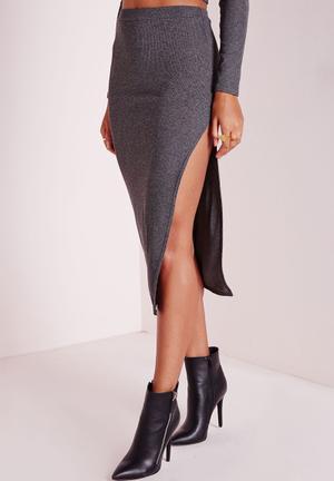 Missguided Longline Ribbed Split Side Midi Skirt Grey