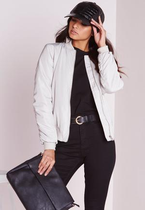 Missguided Soft Touch Bomber Jacket Grey