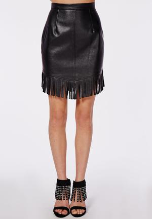 Missguided Fringing Detail Faux Leather Mini Skirt Black