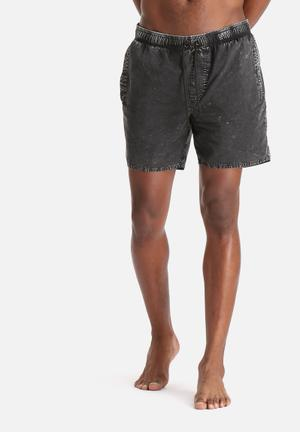 Afends Elastic Denim Walkshort Swimwear Acid Black