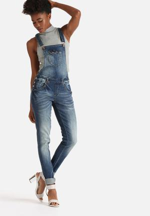 ONLY New Kim Witty Denim Dungaree Jeans Blue