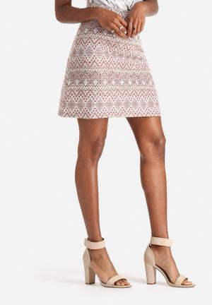 Vero Moda Golden Skirt Beige & Red