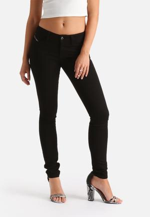 Diesel  Skinzee Super Slim Skinny Regular Waist Jeans Black