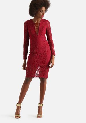 Bardot Jenner Lace Up Dress Occasion Burgundy