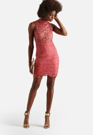 Glamorous Sleeveless Lace Dress Occasion Dusty Pink