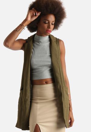 Glamorous Sleeveless Blazer Jackets Khaki