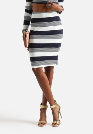Glamorous Mixed Stripe Skirt Navy & White