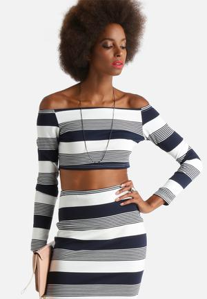 Glamorous Off-Shoulder Mix Stripe Top Blouses Navy & White