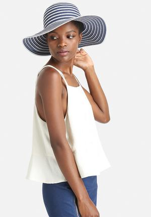 South Beach  Floppy Summer Hat Headwear Navy & White