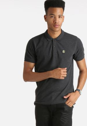 Selected Homme Embroidery Polo Shirt T-Shirts & Vests Dark Grey Melange