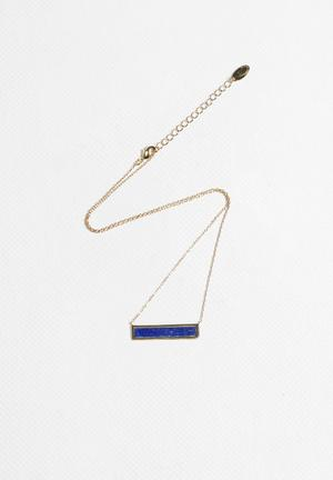 Orelia Flat In-Laid Bar Necklace Jewellery Gold