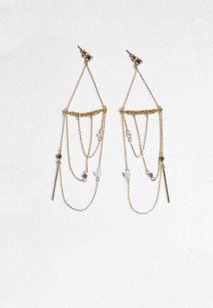 Orelia Nordic Statement Draped Earrings Jewellery Gold