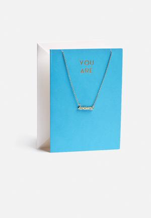 Orelia You Are Awesome Necklace Giftcard Jewellery Gold