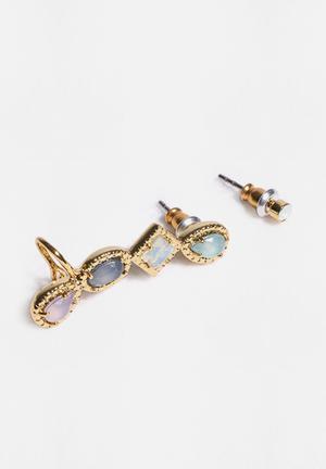 Orelia Multi Shape Nordic Cuff Jewellery Gold, Green, Blue, Purple