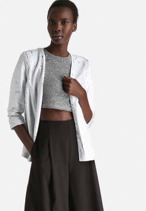 Vero Moda Archtic 3/4 Sequin Blazer Jackets White