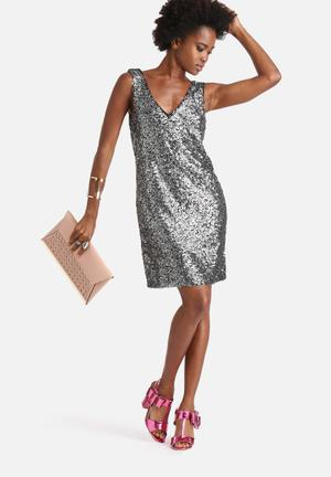 Vero Moda Vera Shine Dress Occasion Black & Silver