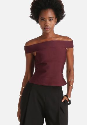 Vero Moda Sandy Fancy Off-Shoulder Top Blouses Maroon
