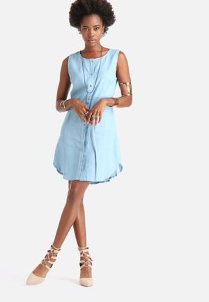 Dailyfriday Rodeo Button Thrus Shirt Dress Casual Blue