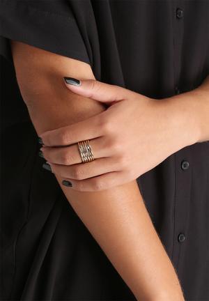 Orelia Stick Multi Row Ring Jewellery Gold
