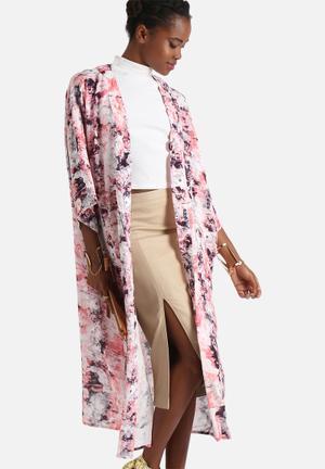 Neon Rose Explosive Print Kimono Jackets Pink