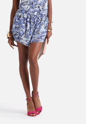 Neon Rose Minimal Runner Shorts Blue