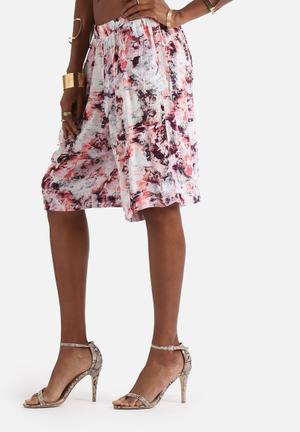 Neon Rose Explosive Floral Print Culottes Trousers Pink