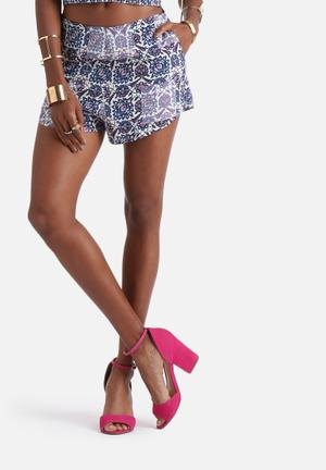 Neon Rose Tapestry Tile Shorts Purple