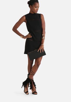 Neon Rose High Neck Ladder Dress Formal Black