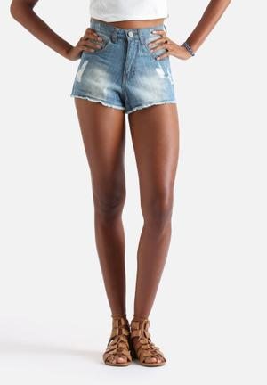 Influence. Distressed Denim Shorts Blue
