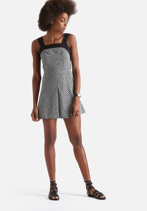 Front Pleat Pinafore Dress