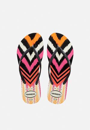 Havaianas Women's Slim Tribal Sandals & Flip Flops Black, Pink & Orange
