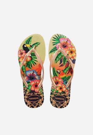 Havaianas Women's Slim Tropical Sandals & Flip Flops Sand Grey & Rose