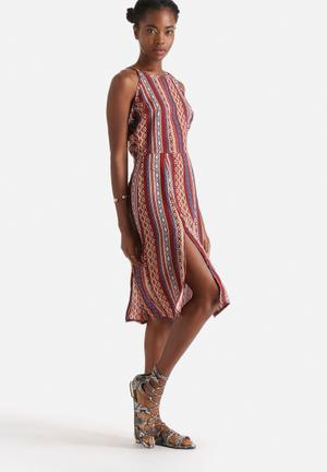 Influence. Aztec Print Midi Dress Casual Multi Colour