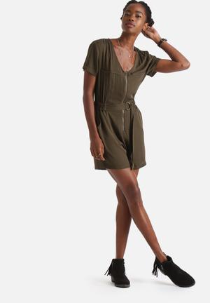 Influence. D-Ring Military Playsuit Khaki