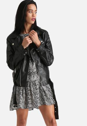 Goldie Faux Leather Biker With Fluffy Lining Jackets Black