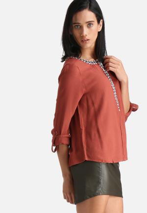 Vero Moda Scarlet Top Blouses Burnt Orange