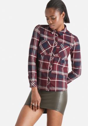Jacqueline De Yong Jordan Check Shirt Burgandy