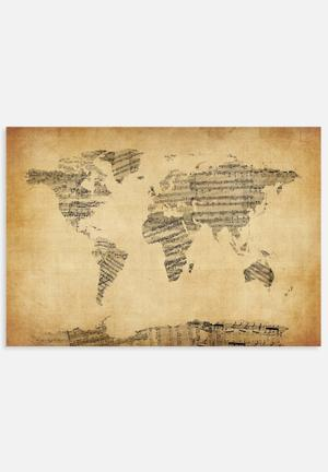 ArtPause  Map Of The World Map From Old Sheet Music Art